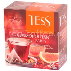 Чай Tess Cosmopolitan Party (Гибискус, Клюква и Грейпфрут) пирамидки 20 пак.