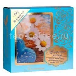 Tipson подарочный чайный набор N 1 3D открытка-магнит, салфетка и чай, синий Шри Ланка