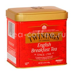 Чай Twinings English Breakfast черный 100г в ж.б.