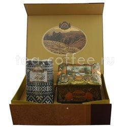 Набор Чайный подарок золотой (Ларец Янтарь+Фолк Черно-бел)