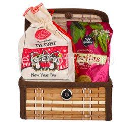 Набор малый в бамбуковом сундуке New Year (чай и кофейные печенье)