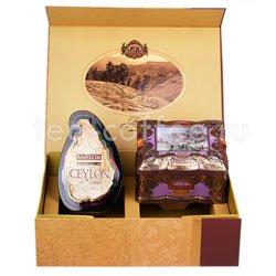 Подарочный чайный набор Basilur коричневый Остров Спешл + Ларец Чароит