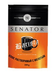Кофе Senator натуральный растворимый сублимированный с добавлением молотого Barista 100 гр