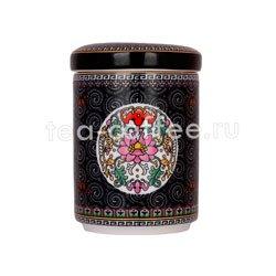 Банка фарфоровый для хранение чая 250 гр черная