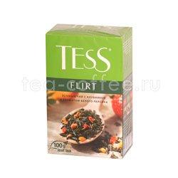 Чай Tess зеленый Flirt (Клубника и ароматом белого персика) 100 гр